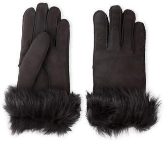 Surell Black Toscana Real Fur-Lined Gloves