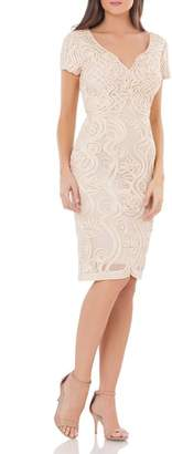 JS Collections Soutache Mesh Sheath Dress