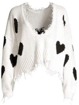 Wildfox Couture Women's Hearts Palmetto Frayed Trim V-Neck Sweater - Clean White - Size Medium