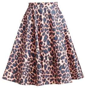 Calvin Klein Women's Cotton-Stretch Leopard Print Skirt - Electric Pink - Size 36 (0)