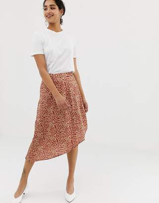 Vila satin leopard skirt