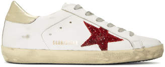 Golden Goose White and Red Glitter Superstar Sneakers