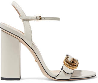 Gucci Marmont Logo-embellished Leather Sandals - Ivory