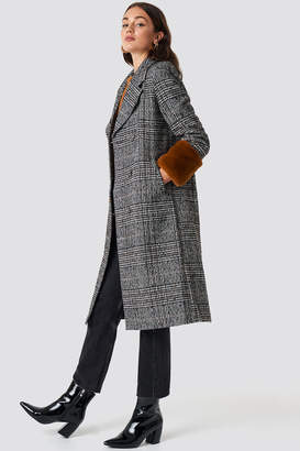 NA-KD Na Kd Faux Fur Sleeve Plaid Coat Checked