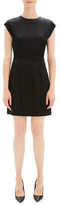 Theory Structured Fitted Short-Sleeve Cocktail Dress
