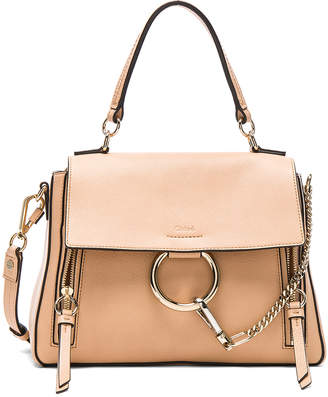 Chloé Small Faye Day Bag Calfskin & Suede in Blush Nude | FWRD