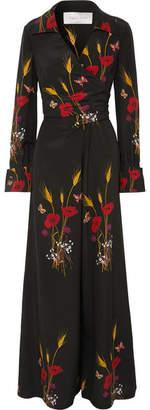 Valentino Wrap-effect Printed Silk-georgette Jumpsuit - Black