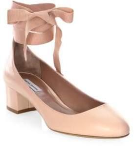 Tabitha Simmons Women's Chloe Leather Ankle-Wrap Block Heel Pumps - Black - Size 39.5 (9.5)