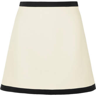 Miu Miu Two-tone Wool-crepe Mini Skirt - Ivory