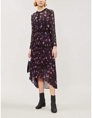 Maje Floral-print pleated chiffon dress
