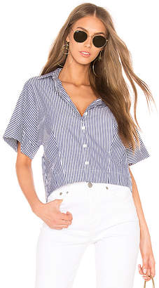 Theory Cropped Button Down Top