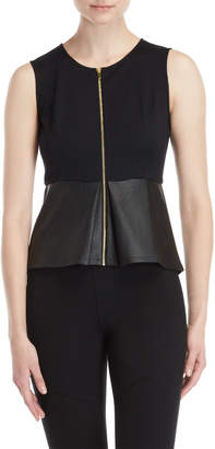 BCBGMAXAZRIA Zip Faux Leather Peplum Top