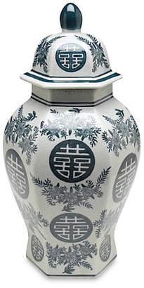 "One Kings Lane 14"" Bazille Ginger Jar - Blue/White"
