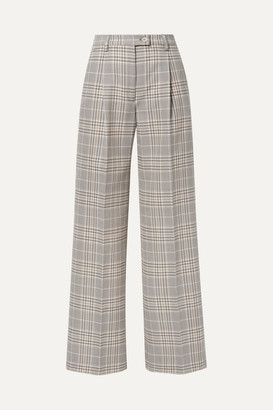Acne Studios Pina Checked Cotton-blend Wide-leg Pants - Gray