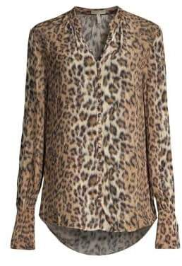 Joie Women's Tariana Leopard Print Blouse - Light Taupe - Size Small