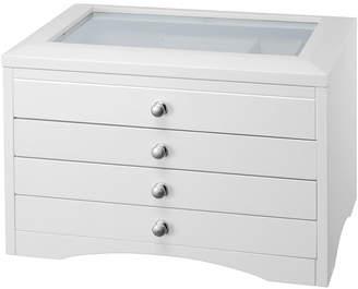 FINE JEWELRY White Glass Top 3-Drawer Jewelry Box