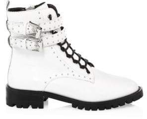 Rebecca Minkoff Women's Jaiden Stud Leather Combat Boots - White - Size 5.5