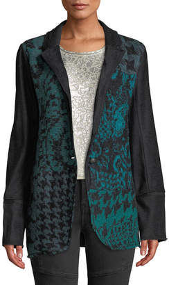 Free People Sweater-Front Jacquard One-Button Blazer Jacket
