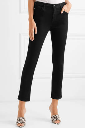 J Brand Ruby Cropped High-rise Slim-leg Jeans - Black