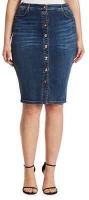 Marina Rinaldi Ashley Graham x Ashley Graham x Women's Capania Knee-Length Denim Skirt - Sky Blue - Size 10W