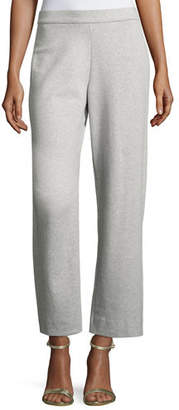 Joan Vass Stretch-Interlock Ankle Casual Pants
