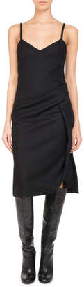 Pascal Millet Wool-Cashmere Ruched Slip Dress, Black