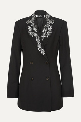 ROTATE - Crystal-embellished Wool-blend Gabardine Blazer - Black