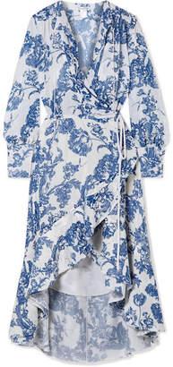 Oscar de la Renta Ruffled Devoré-chiffon Wrap Midi Dress - White