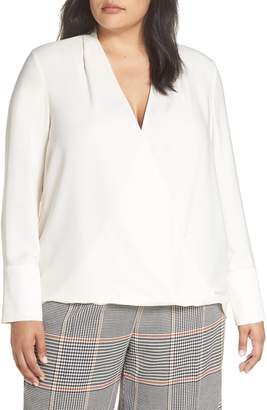 Halogen x Atlantic-Pacific Wrap Blouse