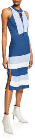 Racerback Sheath Dress with Lace-Up Details