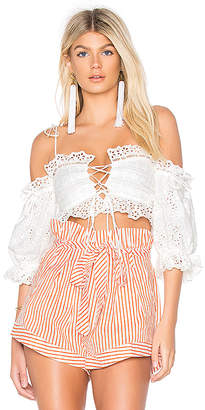 For Love & Lemons Anabelle Eyelet Crop Top