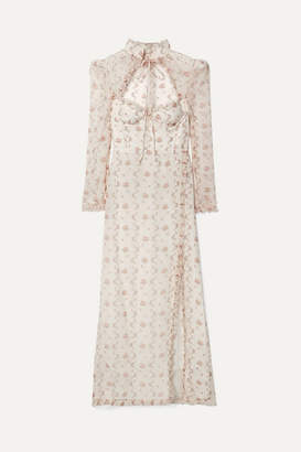 Brock Collection Olivia Ruffled Floral-print Silk-organza Maxi Dress - Cream