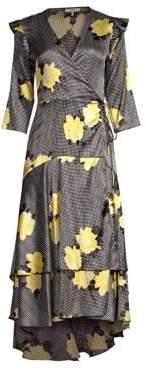 Ganni Women's Calla Floral Silk Wrap Dress - Black - Size 40 (8)