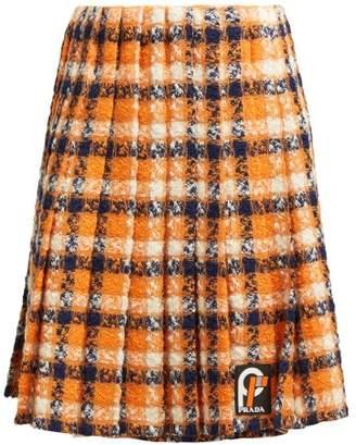 Prada Tartan Tweed Midi Skirt - Womens - Orange Multi