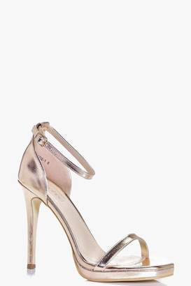 boohoo Metallic Single Platform Two Part Heels
