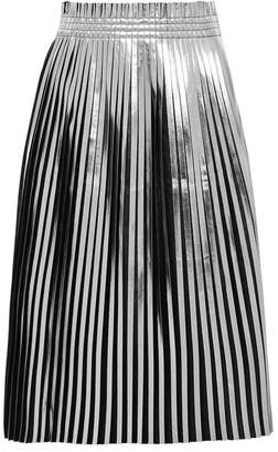 MM6 MAISON MARGIELA Pleated Metallic Faux Leather Midi Skirt - Silver
