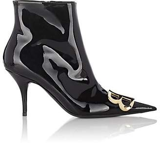Balenciaga Women's Patent Leather Ankle Boots - Black