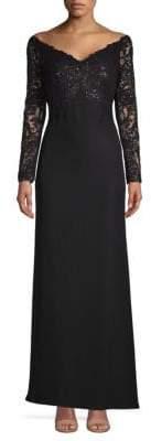 Tadashi Shoji Sequin Top Floor-Length Gown