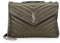 Saint Laurent Women's Medium Lou Lou Chevron Quilted Leather Crossbody Bag - Blanc Vintage