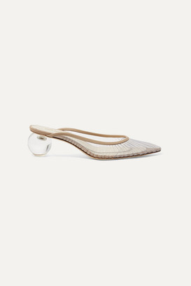 Cult Gaia Alia Perspex And Leather Mules - Sand