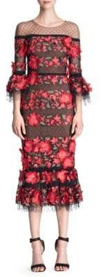 Marchesa Women's Quarter-Sleeve Floral Embroidered Cocktail Dress - Black - Size 6