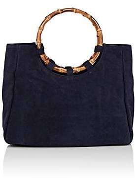 Barneys New York Women's Bamboo-Trimmed Suede Tote Bag - Blue