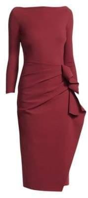 Chiara Boni Women's Zelma Side Ruffle Midi Dress - Midnight - Size 42 (6)