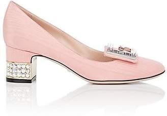 Gucci Women's Embellished-Heel Silk Moiré Pumps - Pink