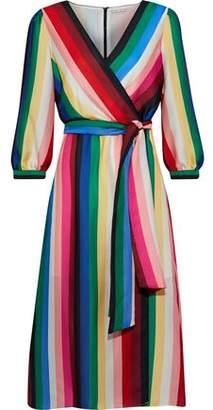 Alice + Olivia Dyanna Wrap-Effect Striped Satin Dress