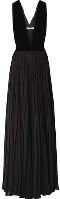 Givenchy Velvet And Pleated Silk-georgette Gown - Black