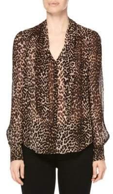 Paige Women's Cleobelle Leopard Silk V-Neck Blouse - Natural Leopard - Size XS