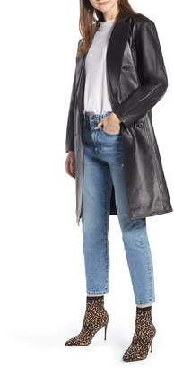 Something Navy Double Breasted Leather Coat