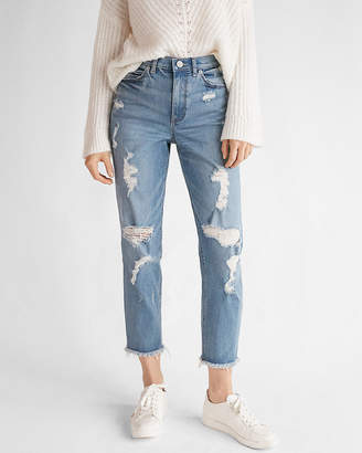 Express High Waisted Light Wash Distressed Original Girlfriend Jeans