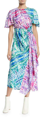 Prabal Gurung Wrapped Tie-Dye Cutout Midi Dress